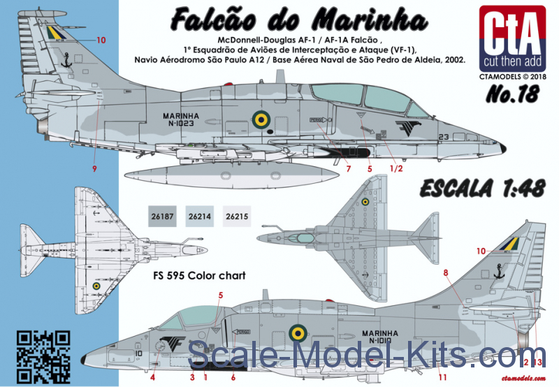 "Decal: ""Falcão do Marinha"" (Brazilian Navy A-4M Skyhawk)"