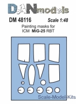 DAN48116 Painting masks for model MiG-25 RBT, ICM kit