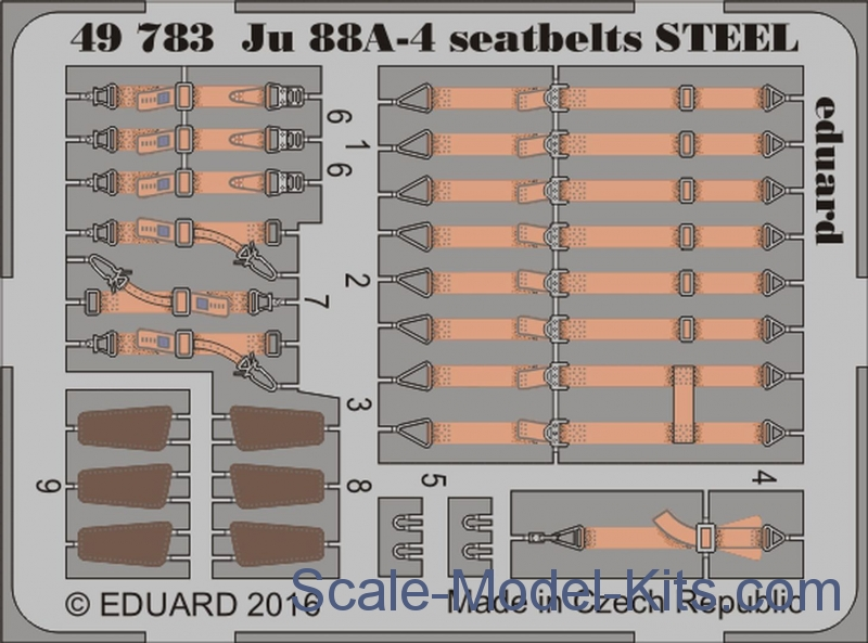 Photoetched set for Ju 88A-4 seatbelts steel, ICM kit