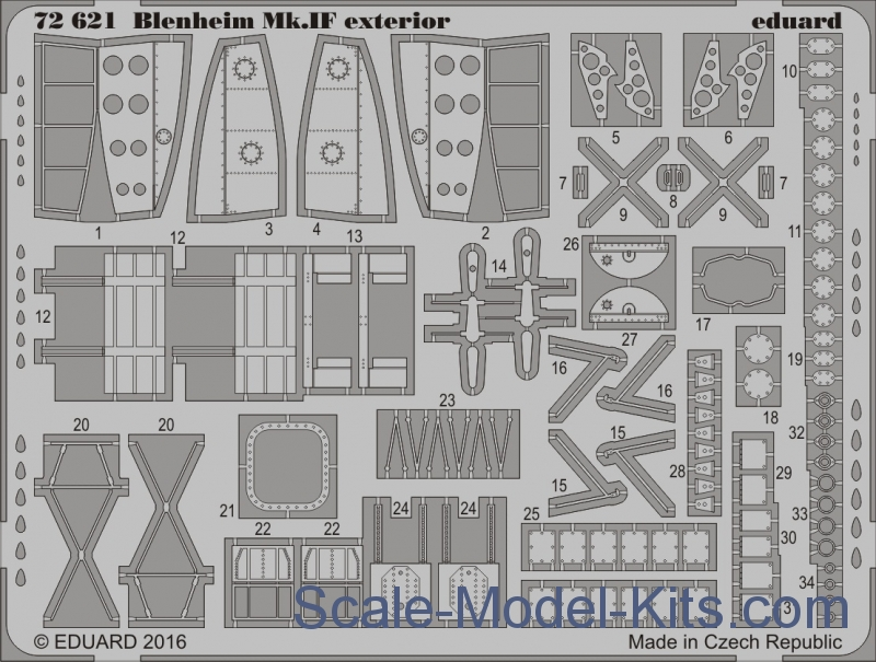 Photoetched set for Blenheim Mk.IF exterior, Airfix kit