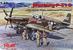 ICM48125 Mustang P-51B WWII USAF fighter + Pilots and Technics
