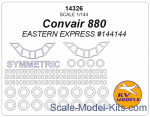 KVM14326 Mask 1/144 for Convair 880 + passenger windows and wheels masks (Eastern Express)