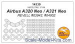 KVM14339 Mask 1/144 for Airbus A320Neo, A321Neo + masks for disks and wheels (Revell)