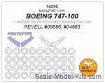 KVM14374 Mask 1/144 for Boeing 747-100, Boeing 747-100 (prototype mask) + wheels masks (Revell)