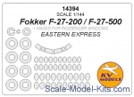 KVM14394 Mask 1/144 for passenger windows Fokker F-27-200/F-27-500 and wheels masks (Eastern Express)