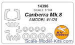 KVM14396 Mask 1/144 for Canberra Mk.8 and wheels masks (AMODEL)