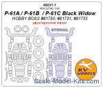 KVM48031-01 Mask 1/48 for P-61A/P-61B /P-61C Black Widow (Double sided) + wheels masks (Hobby Boss)