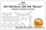 KVM72980 Mask 1/72 for DH-104 Dove/DH.104
