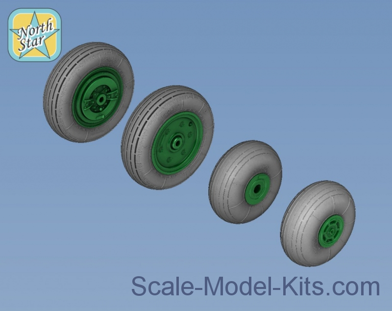 Wheels set for Ka-27 / Ka-32 Soviet / Russian helicopter - No mask series