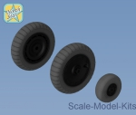 NS48102-a Wheels set for Focke-Wulf 190 A/F/G late disk with Dunlop early main tire (tread)