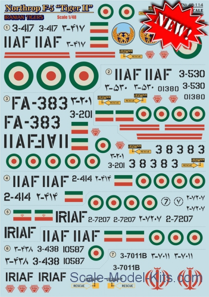 "Decal for Northrop F5 ""Tiger II"" Iranian Tigers, part 2"