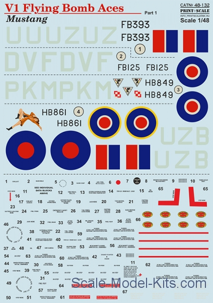 "Decal for Mustang V1 ""Flying Bomb Aces"""