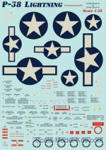 Decal for P-38 Lightning, part 1 and technical stencils