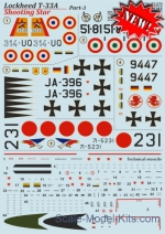 PRS72-270 Decal for Lockheed T-33A